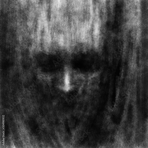 Photo  Darkly human face with black eyes