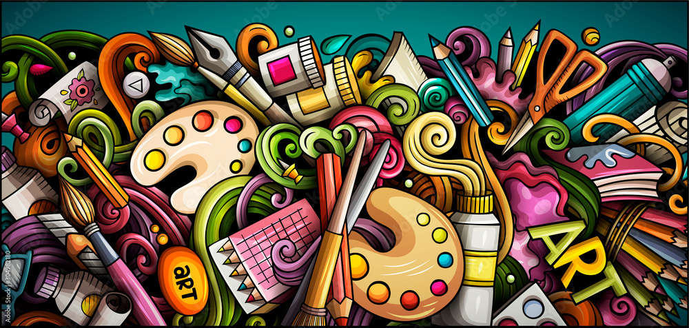 Fototapeta Artist hand drawn doodle banner. Cartoon detailed illustrations.
