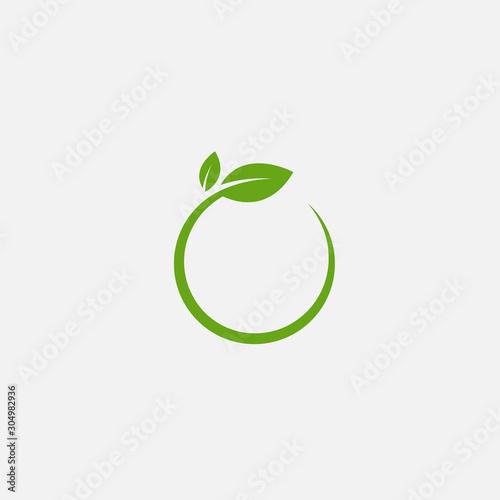 Obraz Green leaf ecology nature element vector icon, Leaf circle Icon, green leaf ecology nature element vector - fototapety do salonu