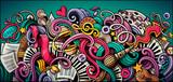 Fototapeta Młodzieżowe - Music hand drawn doodle banner. Cartoon detailed illustrations.