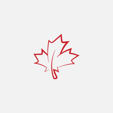 Maple Leaf Logo Template Vector Icon Illustration, Maple Leaf Linear Vector Illustration, Canadian Vector Symbol, Red Maple Leaf, Canada Symbol, Red Canadian Maple Leaf