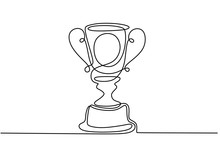 One Line Drawing Of Winner Trophy Minimalism Object Design Vector Illustration