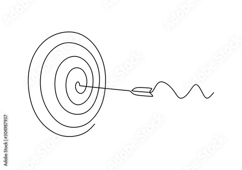 Fotografia Continuous line drawing of arrow in center of target