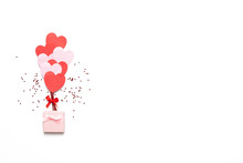 Valentine's Day Background With Red And Pink Hearts Like Balloons Isolated On White Background, Top View
