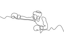 One Line Drawing Of Boxing Vec...