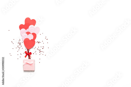 Valentine's day background with red and pink hearts like balloons isolated on wh Poster Mural XXL