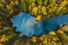 Autumn Forest And Blue Lake Aerial View Turquoise Water Reflection Framed Colorful Pine Trees Landscape Travel Wilderness Scenery In Finland Explore Scandinavian Nature From Above Top Down