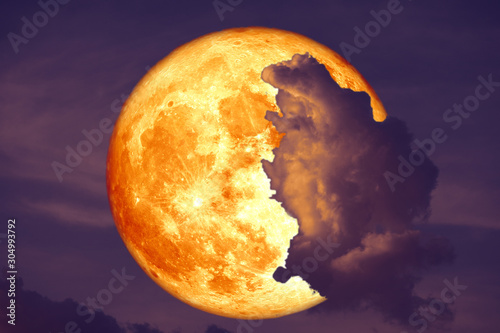 super blood strawberry moon back on silhouette cloud on sunset sky Wallpaper Mural