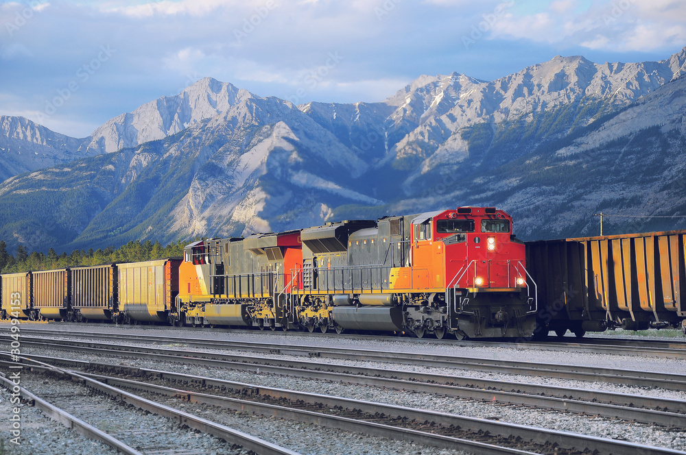 Fototapeta Freight container train in Jasper.