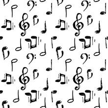 Vector Illustrated Black Ink Music Notes And Keys Set Pattern