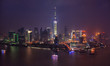 Pudong financial district with Oriental Pearl tower by night. Shanghai, China
