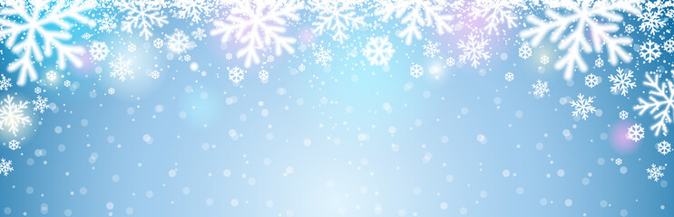 Blue christmas banner with white blurred snowflakes. Merry Christmas and Happy New Year greeting banner. Horizontal new year background, headers, posters, cards, website. Vector illustration