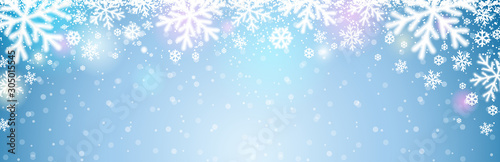 Blue christmas banner with white blurred snowflakes. Merry Christmas and Happy New Year greeting banner. Horizontal new year background, headers, posters, cards, website. Vector illustration - 305015545