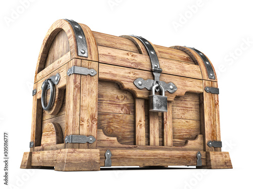 Fotografie, Obraz Old wooden chest box with treasure isolated on white background.