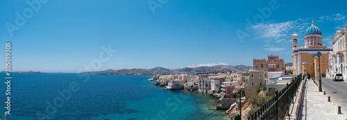 Vaporia area in Syros island main capital, Ermoupoli, also known as little venic Canvas Print