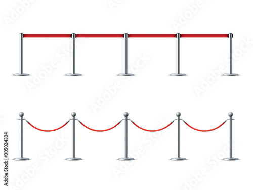 Barrier ropes for exhibition show vector illustrations set Canvas Print