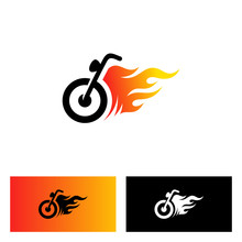Motorcycle With Fire Logo Design