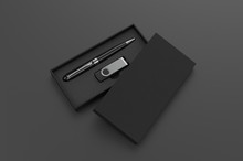 Blank Pen Drive And Ball Point Pen With Paper Box Packaging For Promotional Branding. 3d Render Illustration.
