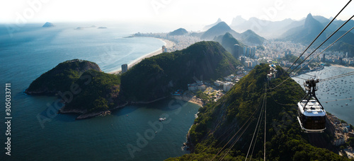 Photo Rio de Janeiro city skyline view from Sugarloaf mountain, Brazil