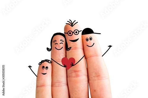 Leinwand Poster Finger family concept: Joyful finger family smiling