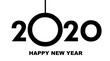 Happy New Year 2020 - greeting card, invitation, poster, flyer - black numbers and letters - vector