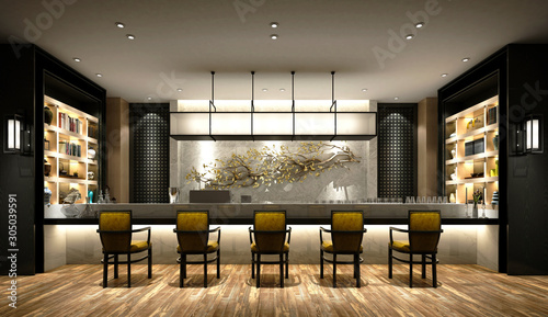 Pinturas sobre lienzo  3d render of cafe and drink bar, pub interior