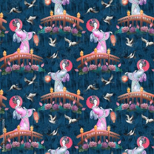 Japan geisha watercolor seamless pattern