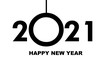 Happy New Year 2021 - greeting card, invitation, poster, flyer - black numbers and letters - vector