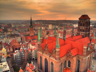 gdansk st. marys cathedral from above