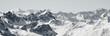 canvas print picture - Blick von der Axamer Lizum in Tirol auf die schneebedeckten Berge und Gipfel. Neuschnee im Winter. Bergpanorama