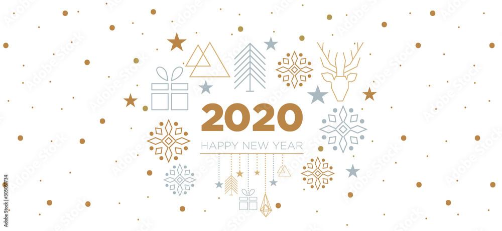 Fototapeta 2020 - happy new year with geometric elements