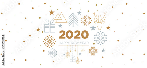 Fototapeta 2020 - happy new year with geometric elements obraz