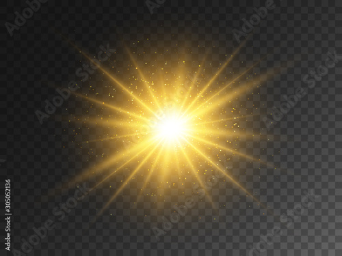 Obraz Gold glowing star on transparent backdrop. Magical explosion with star dust. Christmas light effect with magic particles. Yellow energy flash. Golden glitter and glare. Vector illustration - fototapety do salonu