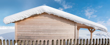 Wooden Block House With Snow C...