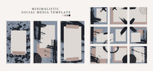 Trendy Color Pallette, Winter Vibe Templates For Post And Stories For Your Social Media. Puzzle Textured Background Content For Social Network. Cute And Cozy Cold Colors. Vector, Editable Collage