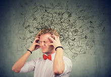 Stressed Man With A Mess And Confusion In His Head