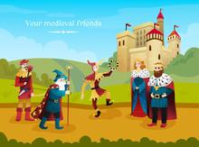 Medieval Kingdom Flat Composition