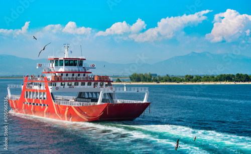 Fotomural Passenger ferry boat sailing in Aegean sea.