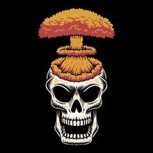 Skull Head Nuke Vector Illustration