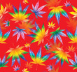 canvas print picture - Cannabis leaves the colors of the rainbow. Seamless pattern on a red background. Watercolor illustration.