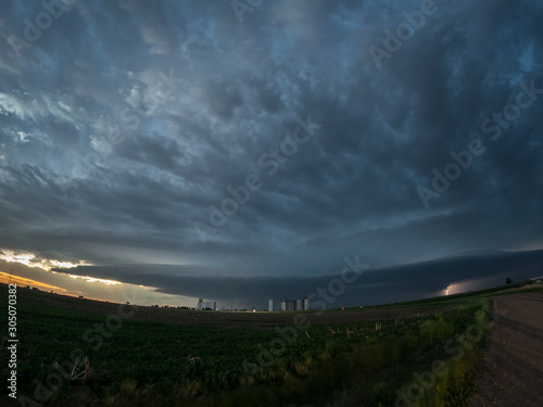 Fisheye view of a supercell thunderstorm with mothership appearance over the high plains of Colorado, USA Wallpaper Mural
