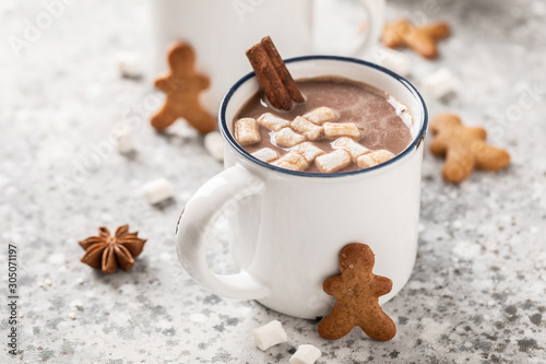 Foto auf Leinwand Schokolade Hot chocolate or cocoa drink with milk and marshmallows.