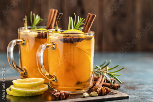 Hot drink cocktail for New Year, Christmas, winter or autumn holidays Fototapeta