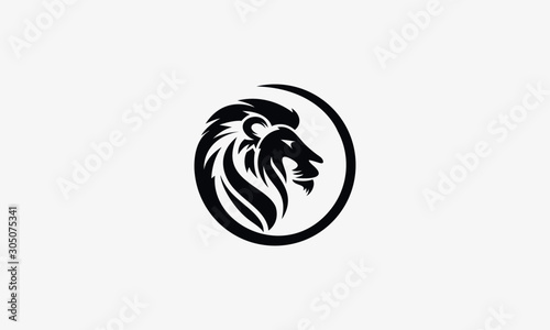 Fototapety, obrazy: King Lion Head Logo Template. Brand Identity, Icon, Badge, Sticker, Emblem with Circle Ring Frame