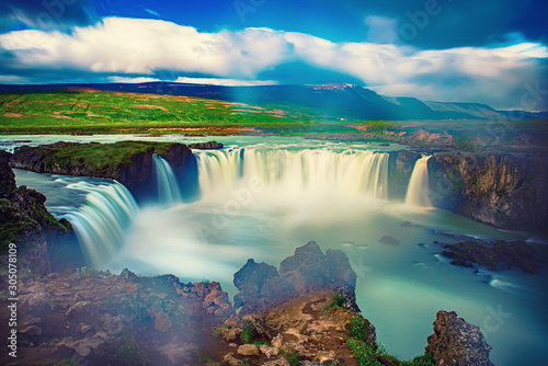 Godafoss waterfall in Iceland - 305078109