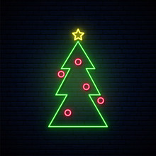 Neon Christmas Tree Sign. Brig...