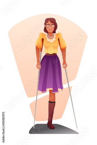 Photo Woman with amputated leg flat vector illustration