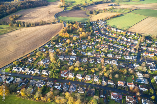 Obraz na plátně  Brookfield countryside rural village aerial view from above in Renfrewshire Scot
