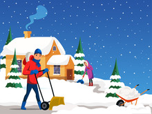 People Removing Snow Flat Illustration