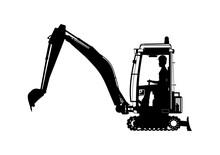 Mini Excavator. Silhouette Of ...